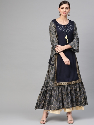 Women Navy Blue Straight Rayon Printed Round Neck Long Kurta