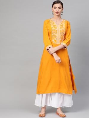 Women Yellow Straight Rayon Printed Round Neck Long Kurta
