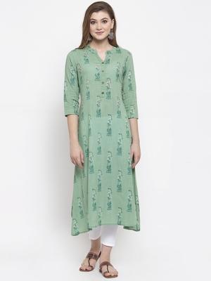 Women Green A-Line Cotton Slub Printed Mandarin Collar Long Kurta