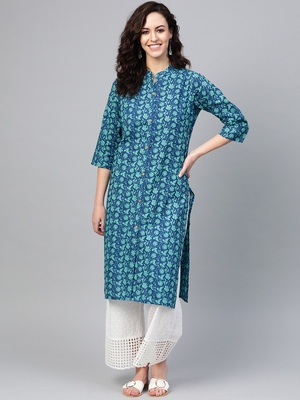 Women Blue Straight Rayon Print Mandarin Collar Long Kurta