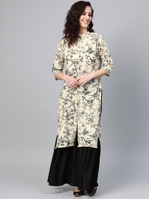 Women Off White Straight Rayon Print Mandarin Collar Long Kurta