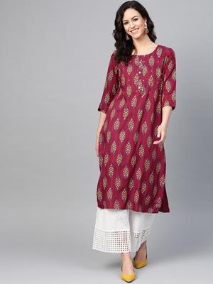 Women Maroon Straight Rayon Mirror Embroidery Mandarin Collar Long Kurta