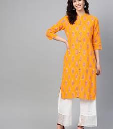 Women Mustard Straight Rayon Mirror Embroidery Mandarin Collar Long Kurta