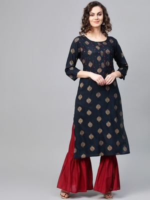 Women Navy Blue Straight Rayon Slub Mirror Embroidery Round Neck Long Kurta