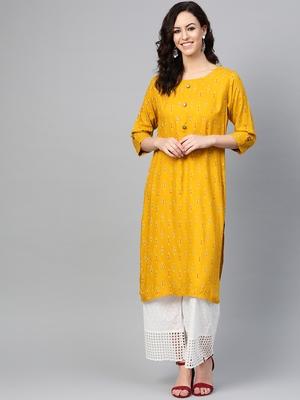 Women Mustard Straight Rayon Sequins Embroidery Round Neck Long Kurta