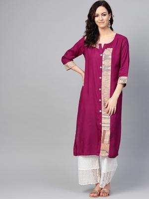 Women Purple Straight Rayon Print Mandarin Collar Long Kurta