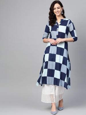 Women Blue Straight Cotton Print Mandarin Collar Long Kurta