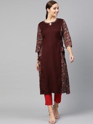 Women Brown Layered Rayon Printed Round Neck Long Kurta