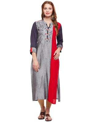 Women Grey & Red Straight Rayon Embroidered Mandarin Collar Long Kurta