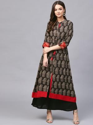 Women Black Flared Cotton Printed Mandarin Collar Long Kurta