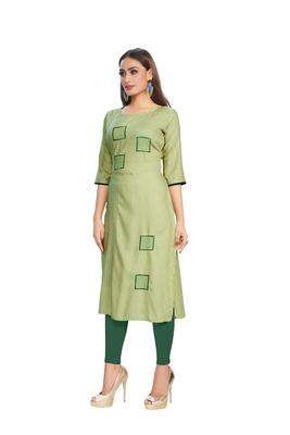 Olive embroidered rayon embroidered-kurtis