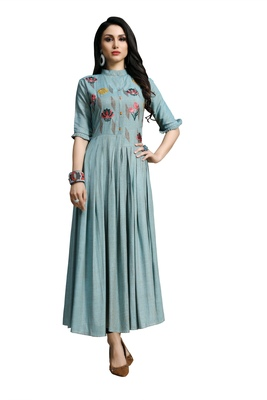 Sky-blue embroidered viscose rayon embroidered-kurtis