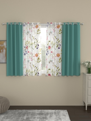 ROSARA HOME Erba Voile Pack of 4 Window Curtains