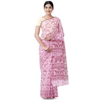 Pink printed blended cotton saree with blouse