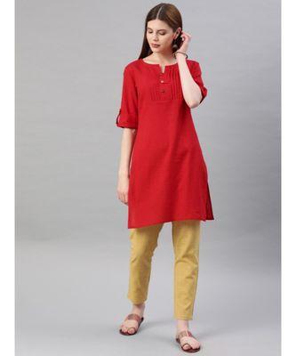 Women Red & Beige Solid Straight Cotton Slub Kurta With Pants
