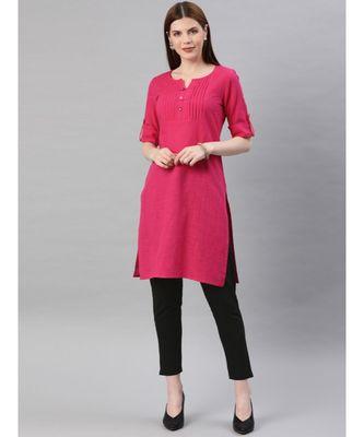 Women Pink & Black Solid Straight Cotton Slub Kurta With Pants