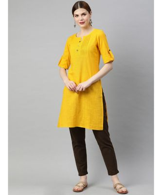 Women Yellow & Brown Solid Straight Cotton Slub Kurta With Pants
