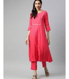 Women Coral Solid A-Line Rayon Kurta With Pants