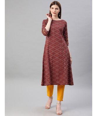Women Rust & Mustard Geometric A-Line Cotton Kurta With Pants