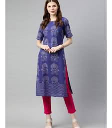 Women Blue & Pink Quirky Straight Cotton Kurta With Pants