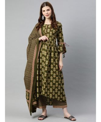Women Olive Ethnic Motifs A-Line Cotton Kurta, Palazzo With Dupatta