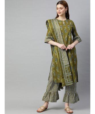 Women Olive Ethnic Motifs Straight Cotton Kurta, Palazzo With Dupatta