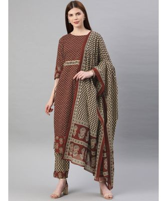 Women Maroon & Beige Ethnic Motifs Straight Cotton Kurta, Palazzo With Dupatta