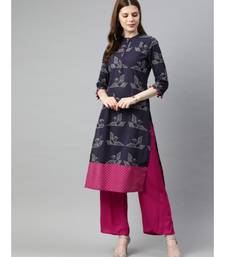 Women Purple & Magenta Quirky Straight Cotton Kurta With Palazzo