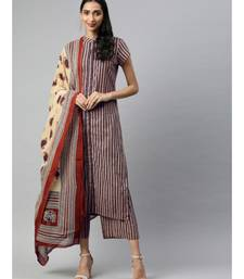 Women Beige & Beige Striped Straight Cotton Kurta, Palazzo With Dupatta