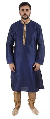 Blue embroidered raw silk kurta-pajama