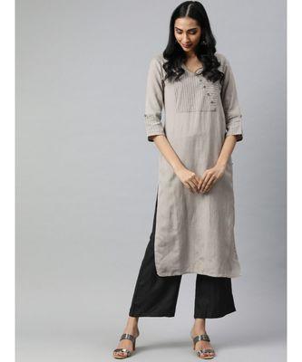 Women Grey & Black Solid Straight Rayon Slub Kurta With Palazzo