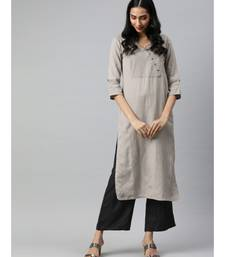 Women Grey & Black Solid Straight Rayon Slub Kurta With Palazzo