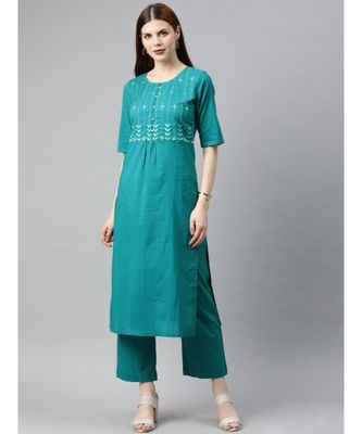Women Teal Solid Straight Cotton Kurta With Palazzo