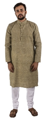 Green plain cotton kurta-pajama