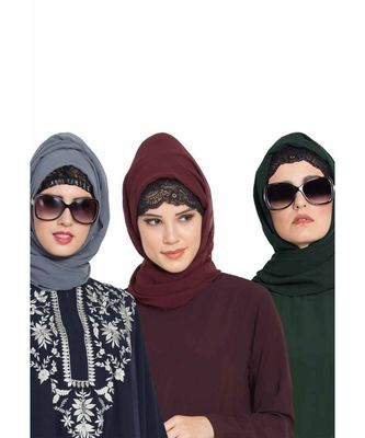 Set Of Three Stole Hijabs in Soft and Super Fine Georgette