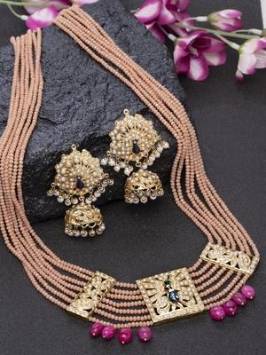 Pink pearls jewellery-combo