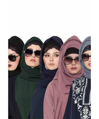 Set Of Five Stole Hijabs in Soft and Super Fine Georgette