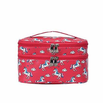 Shree Shyam Product Red Double Layer Unicorn Print Cosmetic Bag Toiletry Cosmetic Makeup Bag Organizer 1 Pcs Set