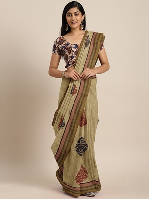 Beige printed polycotton saree with blouse