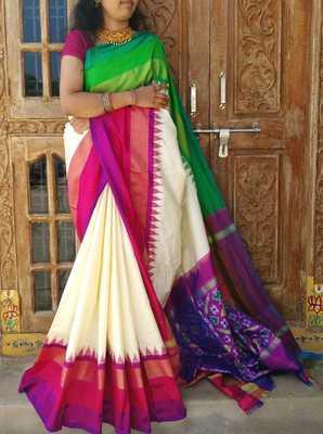 Pure Silk Designer Saree / Handwoven / Handloom - Ethnics Land