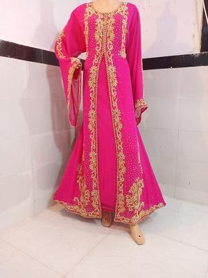 pink georgette moroccan islamic dubai kaftan farasha zari and stone work dress