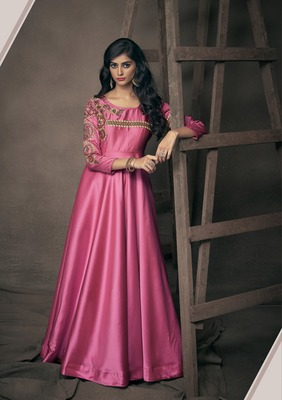 Pink embroidered silkparty wear gown