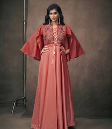 Peach embroidered silkparty wear gown