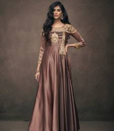 Chocolate embroidered silkparty wear gown
