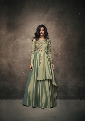 Light-green embroidered silkparty wear gown