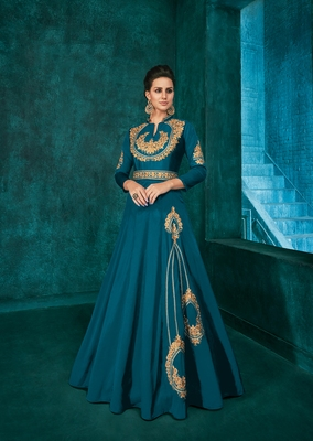 Light-blue embroidered silkparty wear gown
