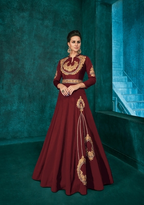 Maroon embroidered silkparty wear gown