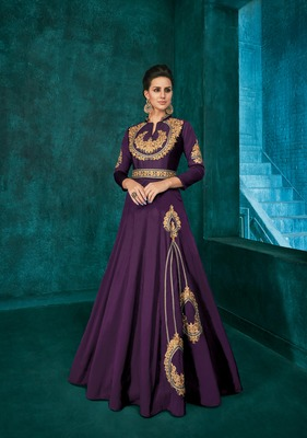 Purple embroidered silkparty wear gown