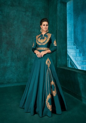 Aqua-blue embroidered silkparty wear gown