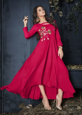 Rani-pink embroidered rayon party-wear-kurtis
